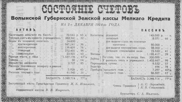 Волынская губернская земская касса мелкого кредита