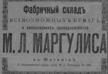 Фабричный склад всевозможных бумаг и канцелярских принадлежностей М.Л. Маргулиса