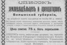 Список землевладельцев и арендаторов Волынской губернии
